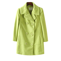 秋冬装女装 东大门纯色双排扣西装领毛呢外套女中袖中长