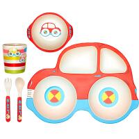 汽车盘碗可爱分格盘 宝宝分隔餐盘竹纤维儿童餐具套装创意
