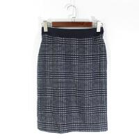 CA0838精品秋冬新款隐形拉链高腰显瘦好搭配女格子毛呢包臀裙