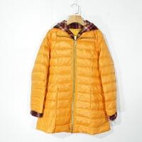 P03084女装精品冬季新款简约拉链显瘦好搭配中长款连帽两色羽绒服