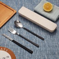 创意可爱304不锈钢便携餐具三件套装筷子盒学生筷子勺子叉子长柄