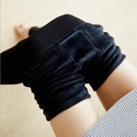 冬季加绒加厚打底裤高腰修身保暖大码踩脚裤珍珠绒内外穿女 黑色踩脚 均码(90-160)斤