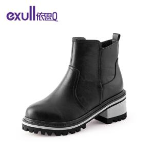 依思q冬季新款舒适短筒粗跟高跟短靴时尚潮流女靴子