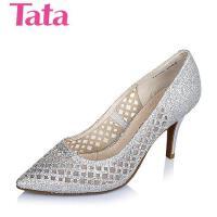 Tata/他她春季专柜同款/白色亮片布浅口女单鞋2H5B1AQ6 专柜1