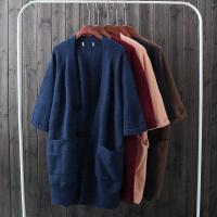 秋冬韩版宽松大口袋中长款纯色毛衣外套女百搭加厚针织开衫DS