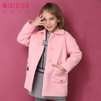 米奇丁当儿童秋冬装新款公主可爱外套夹棉加厚女童毛呢子大衣