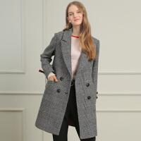 三彩2017冬装新品 西装领格子呢大衣长款羊毛呢外套女D748658D00