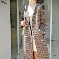 2018新款秋冬韩版千鸟格毛呢外套气质双面羊绒大衣女中长款 红绿千鸟格 S
