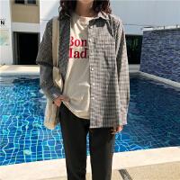 韩国春装格子衬衫女宽松长袖单排扣百搭小清新休闲上衣潮