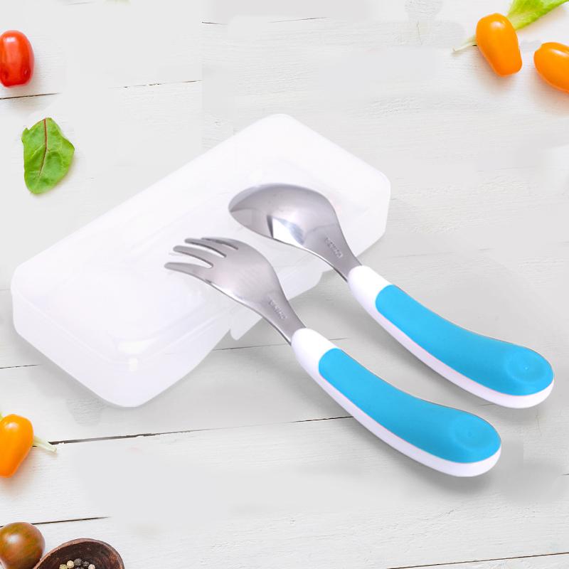 OXO 勺子 叉子 儿童叉勺套装不锈钢婴儿学吃宝宝吃饭小蛮同款餐具