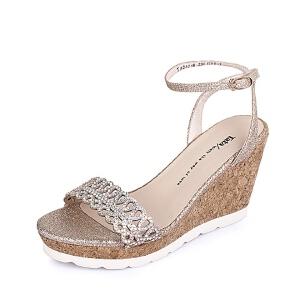Tata/他她夏季专柜同款黄布女凉鞋2A216BL6