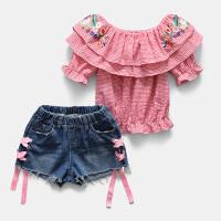 新款儿童牛仔短裤时尚中大童两件套夏装女童洋气套装夏季