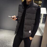 羽绒棉马甲男士外套秋冬新款大码条纹格子韩版潮流肩帅气潮加厚外套