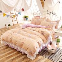 全棉四件套纯棉蕾丝花边床裙床单被套四件套1.8m床上用品冬季加厚