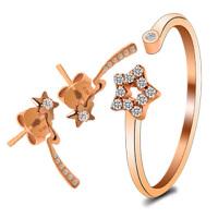 梦克拉 18K金钻石耳钉戒指套装 许愿
