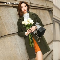 Y呢子大衣女拉夏贝尔2018年冬新款韩版宽松羊毛呢中长外套双面呢