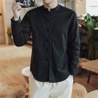 秋季中国风亚麻衬衫男装长袖休闲复古大码衬衣立领纯色唐装潮