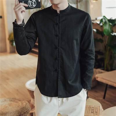 秋季中国风亚麻衬衫男装长袖休闲复古大码衬衣立领纯色唐装潮 发货周期:一般在付款后2-90天左右发货,具体发货时间请以与客服协商的时间为准