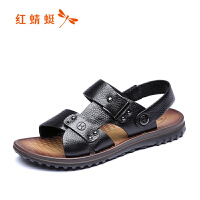 红蜻蜓凉鞋真皮男凉鞋夏季新款休闲防滑皮凉鞋沙滩鞋