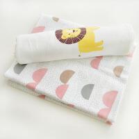 婴儿夏季包被抱被双层棉新生儿纱布包单襁 抱被婴儿浴巾 两条装M