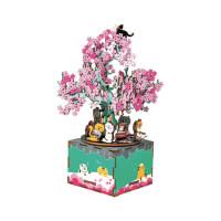 若态若来樱花树下DIY音乐盒手工木质八音盒创意生日儿童节礼物