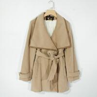 P03029女装精品秋冬新款按扣翻边领有腰带显瘦女纯色加绒毛呢外套