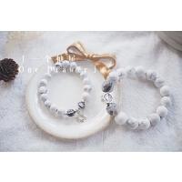 白松石水晶男女情侣手链