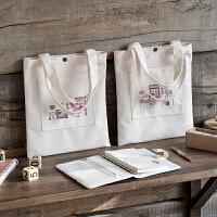 麻球创意帆布包学生补习袋女生可爱包包手拎小号购物袋帆布袋子ZQ