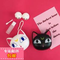 日韩可爱少女心露娜猫隐形眼镜盒近视眼镜盒伴侣盒美瞳盒子双联盒