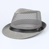 中老年夏季帽子男士礼帽爵士帽爸爸夏天遮阳帽透气草凉帽老人网帽