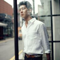 新款男士长袖衬衫男装韩版修身衬衣商务休闲寸衫弹力纯色潮