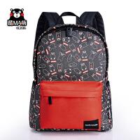 熊本熊kumamon新款学生休闲双色双肩包潮流书包旅行包背包17KM115