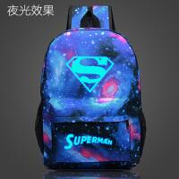 星空复仇者联盟 钢铁侠 超人 夜光 男女学生 书包 学院风双肩背包 夜光超人 X