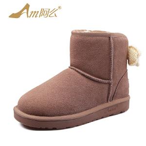 【冬季清仓】阿么牛皮羊毛加厚保暖雪地靴加绒棉鞋短筒靴子女士鞋