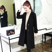大衣女中长款冬季2017新款加厚chic呢子韩版宽松显瘦加棉毛呢外套 黑色 加棉加厚