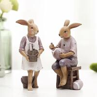美式家居儿童房间装饰品创意闺蜜女生日礼物客厅桌面摆件兔子摆设