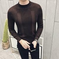 男装 潮秋冬 纯色英伦半高领修身毛衣 打底衫 商务针织衫