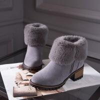 彼艾2017秋冬新款加绒粗跟后拉链短筒雪地靴加厚毛毛短靴子女马丁棉鞋女靴子