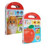 英文原版 Touch and Lift:First 100 Animals Words 2册套装 幼儿童英语启蒙触摸翻