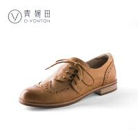 青婉田布洛克英伦风女鞋个性斜系带单鞋2018新款雕花休闲小皮鞋女