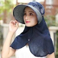 夏季大沿遮阳帽女士防晒户外折叠遮脸草帽骑车帽子太阳帽 可调节