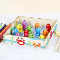 木质婴幼儿童钓鱼玩具12个月宝宝早教拼图1-2-3周岁男女孩