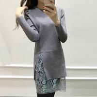 2017秋冬韩版蕾丝拼接女毛衣中长款针织衫长袖纯色修身包臀连衣裙