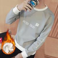 秋冬季学生个性印花套头保暖卫衣韩版潮男加绒加厚棒球服上衣外套 灰色加绒款 T01