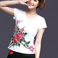 中国风女装上衣 夏装新款民族风绣花短袖圆领纯棉T恤女修身打底衫