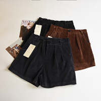冬季新款女装韩版简洁气质百搭纯色灯芯绒休闲短裤LY1230217