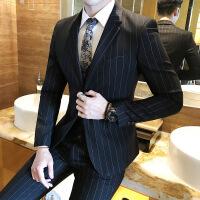 条纹西服套装男新郎服装修身韩版结婚礼服西装套装英伦风休闲正装