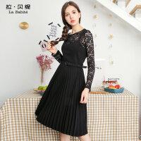 2018秋冬季新款韩版黑色性感蕾丝中长款百褶长袖连衣裙两件套仙女