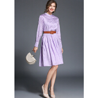 春装新款格子连衣裙长袖立领中收腰连衣裙子OL气质印花中长大摆裙