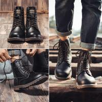 西瑞马丁靴子男士高帮军靴冬季韩版潮流短靴保暖雪地中帮皮靴百搭棉鞋3123
